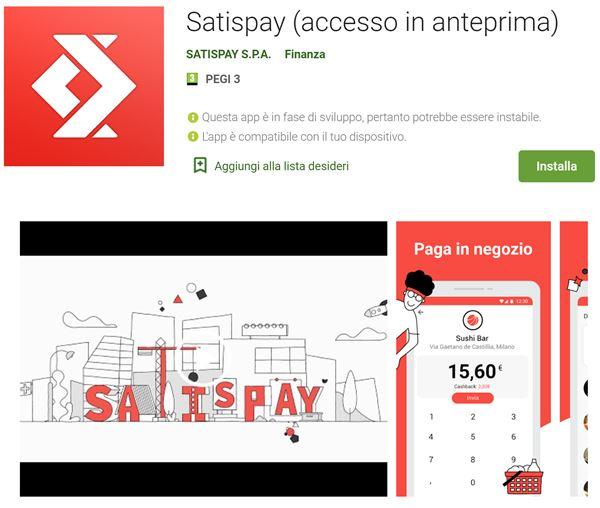 Dove scaricare la app di Satispay per Android