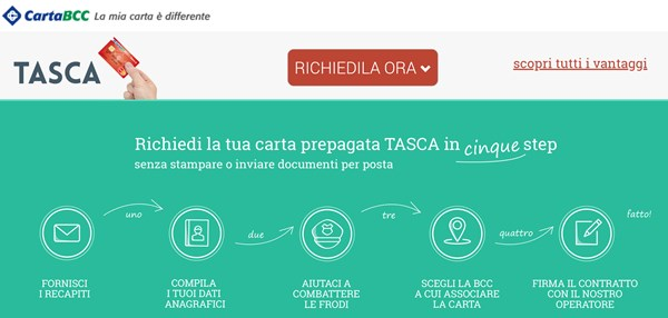 carta tasca bcc infografica richiesta online