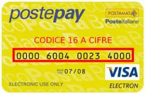 Numero della carta Postepay