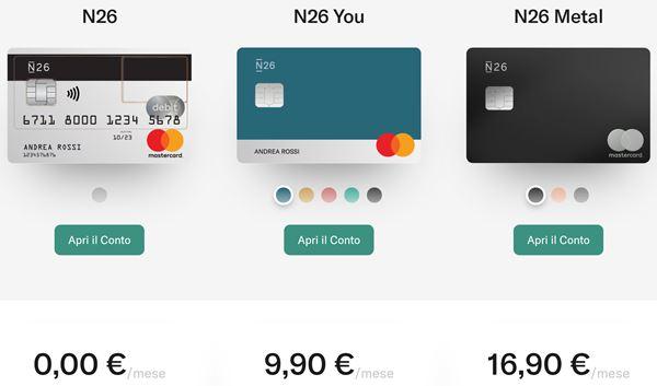 costi delle carte n26