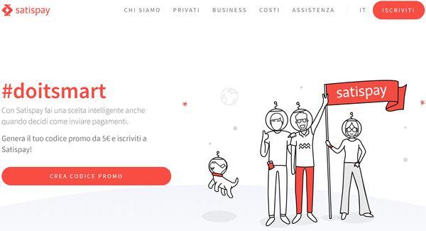 Pagina principale del sito Satispay