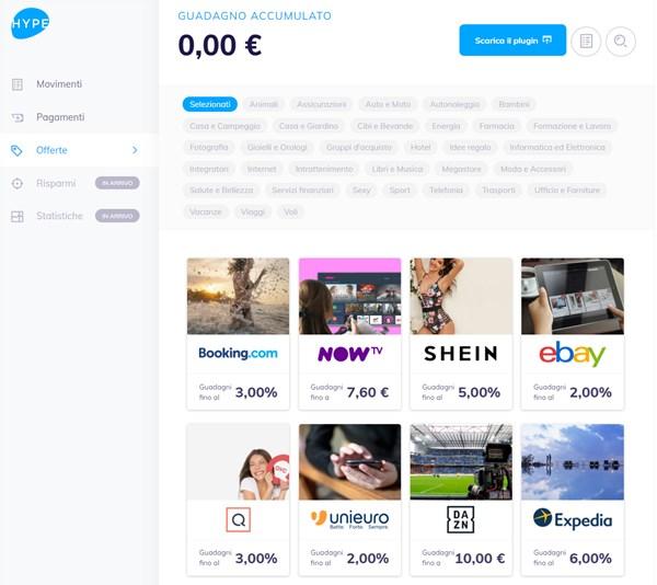 hype login app web pagina offerte