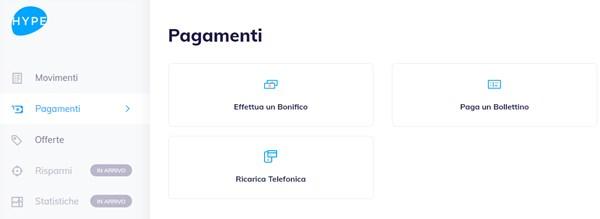 hype login app web pagina pagamenti