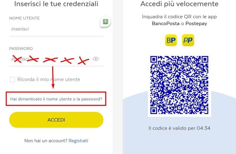 link recupero password postepay