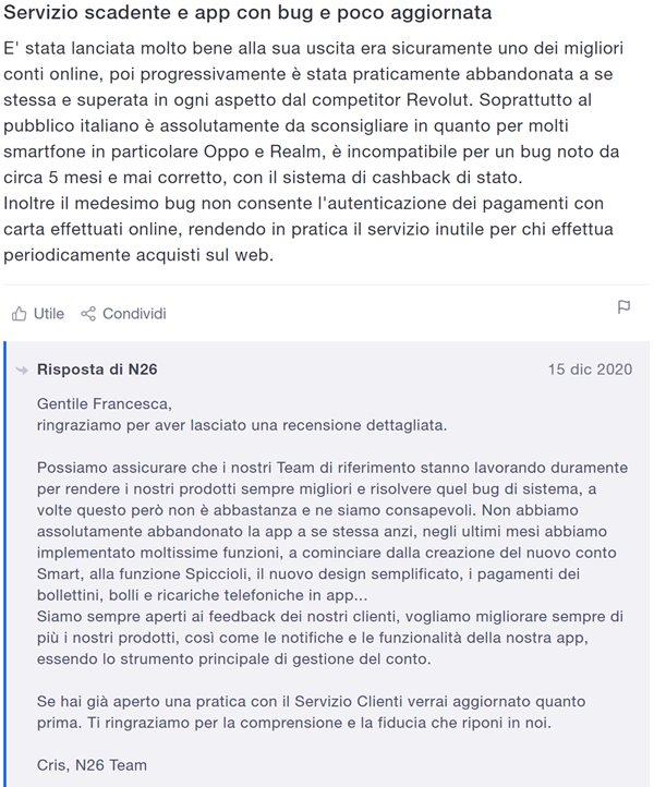 n26 servizio scadente app con bug