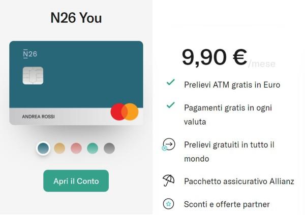n26 you caratteristiche costi