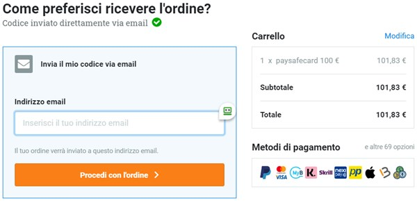 ricarica paysafecard online sito dundle step 3